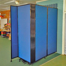 room divider blue fabric