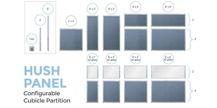 Hush Panel Configurable Cubicle Partition Panel and Window Options