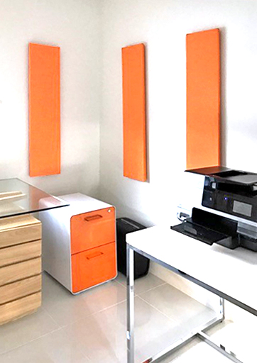 orange acoustic panels